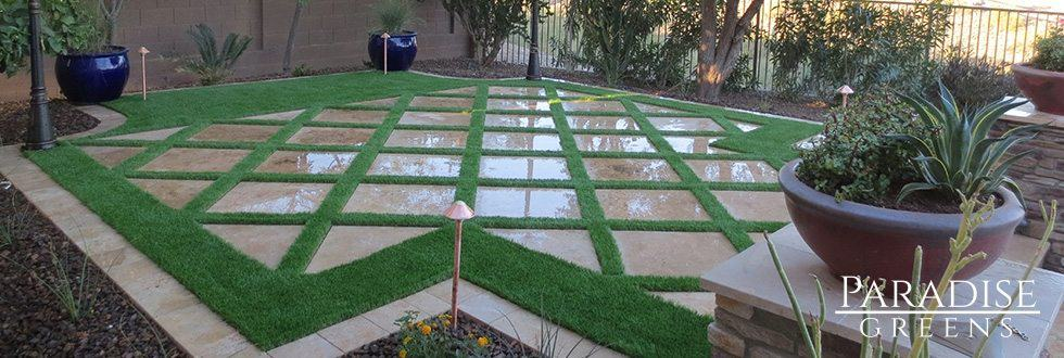 Artificial Grass With Steppers in Sun City, AZ