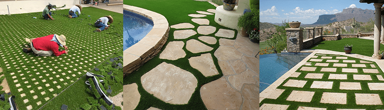 Artificial grass intricate designs