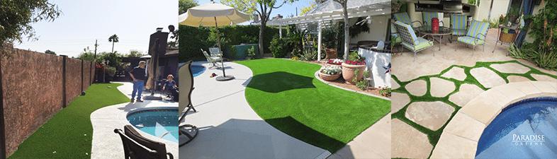 Backyard seating area artificial grass arizona